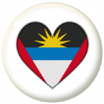 Antigua & Barbuda Country Flag Heart 25mm Pin Button Badge